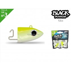 Black Minnow 120 - 2 Off Shore Jighead - 25g - Yellow Fluo